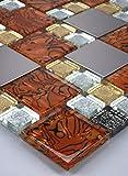 1 tapete de acero inoxidable mosaico de azulejos de mosaico de vidrio de cristal del oro blanco Caramelo de plata 30x30