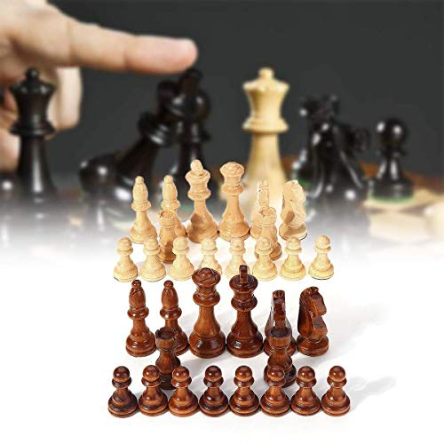 XLAHD Portable Chess Set,Chess Board Game 32 Piece Wooden Carved Chess King Chessman Hand Crafted Set Outdoor Entertainment Toy 10.5cm for Kids and Adults (Color : Multi-colored, Size : One size)