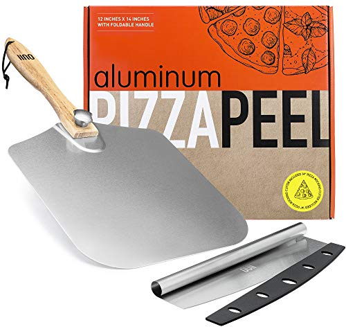 OUII Aluminum Pizza Peel 12''x14'' and Pizza Cutter 14'' Rocker Style Blade. Metal Pizza Spatula Long Handle, for Indoor and Outdoor Pizza Oven. Pastry, Dough, Bread Peel and Rocker Knife Pizza Paddle