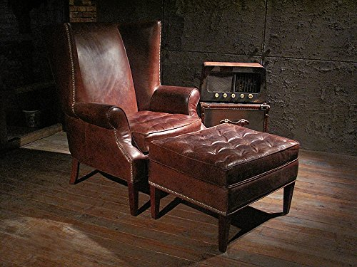 Echtleder Ohrensessel und Fußhocker Manea Set Vintage Leder Tabaklounge Zigarrenbraun