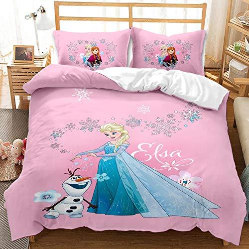 BATTE Disney Frozen - Juego de ropa de cama para bebé, diseño de dibujos animados 3D de alta definición, 100% microfibra Elsa y Anna con fundas de almohada (K,140 x 210 cm)