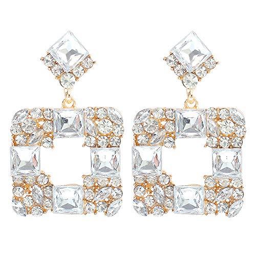 Profusion Cicle 1 Par De Pendientes Geométricos De Estilo Barroco para Mujer, Pendientes Cuadrados Multicolor con Diamantes De Imitación, Joyería para Regalo Blanco