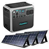 PowerOak BLUETTI AC200P Generador Solar Portatil con 3x Paneles Solares 120W, Generador Electrico Solar Batería de LiFePO4 2000Wh 2000W Enchufes AC 230V / DC 12V / USB para Camping Autocaravana