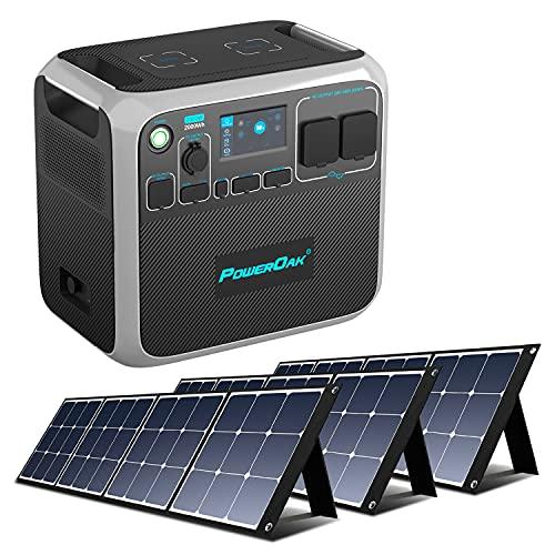 PowerOak Bluetti AC200P Generador Solar Portátil 2000Wh con 3 Pieza Paneles Solares 120W, Generador Electrico Solar con Salidas AC/DC/USB y Batería de LiFePO4 para Viaje Camping Autocaravana