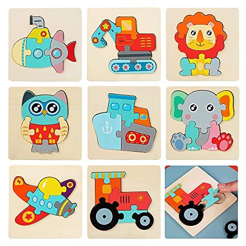 8 Piezas Puzzle 2 3 4 Años, ZoneYan Puzzle Madera, Puzzle Bebe Madera, Puzzles Infantiles, Juguetes Montessori, Animales y Vehículos, Estilos Aleatorios, Regalos para Niños