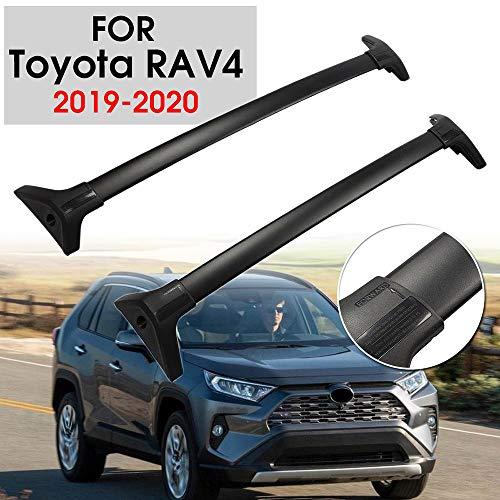 HKIASQ Schwarze Dachreling Dach Baca Horizontale Dachreling Kreuz-Querstab für Toyota RAV4 2019 + Aluminiumlegierung + ABS