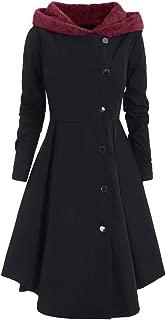 F_Gotal Women's Plus Size Asymmetric Contrast Fleece Hooded Skirted Coat Single Breasted Long Drap Buttons Coat Outwear