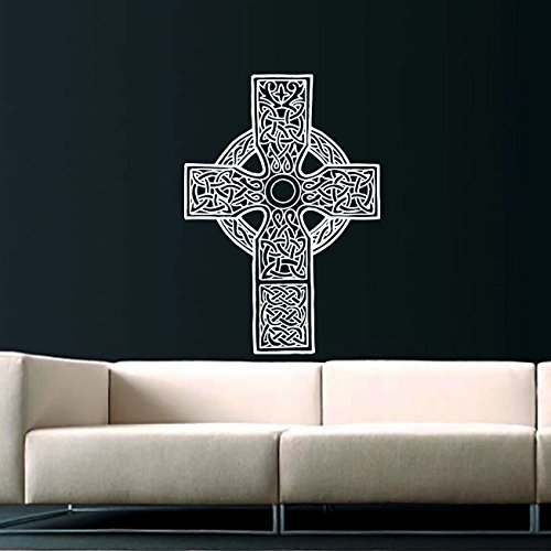 Celtic Cross Wall Decal Celtic Cross Decals Wall Vinyl Sticker Home Interior Wall Decor for Any Room Housewares Mural Design Graphic Bedroom Wall Decal Bathroom (5850)
