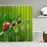 Tenda da doccia Insetto Divertente Animale Coccinella Famiglia con ombrellone Gocce di rugiada Acqua Pianta Fresca Stelo Fodere da bagno impermeabili Ganci inclusi - Idee Decorative per il bagno