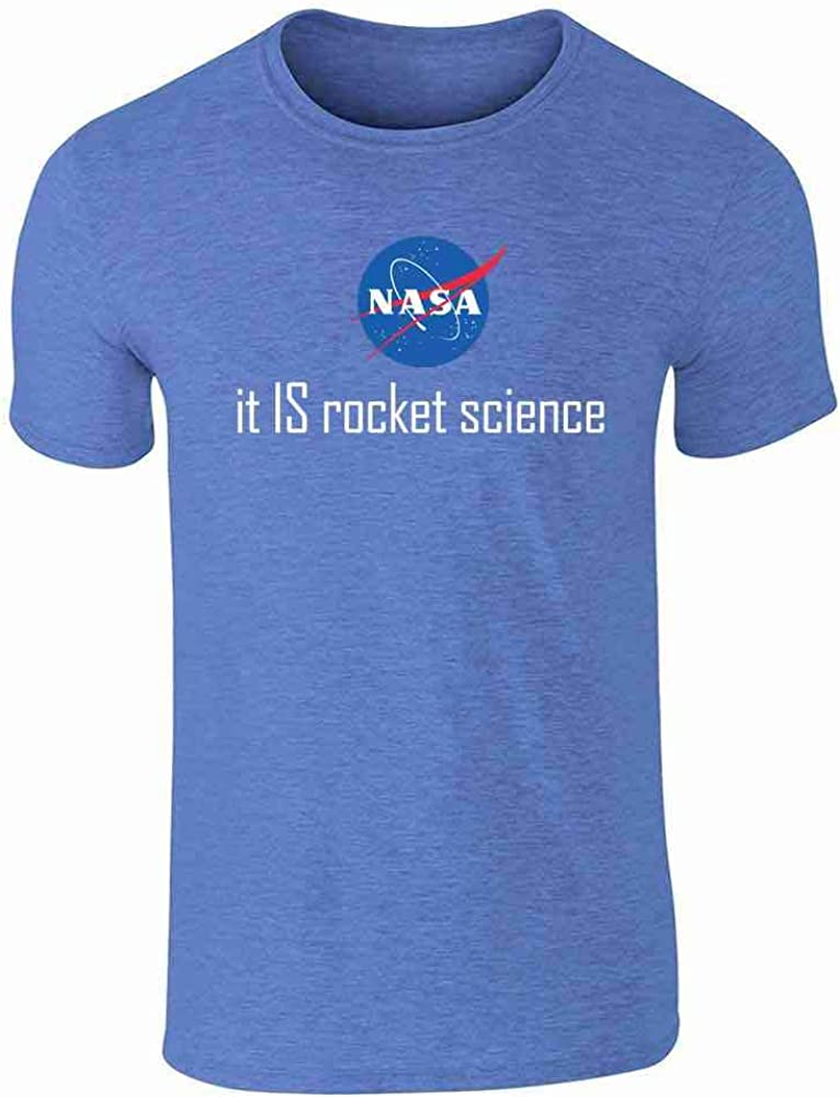 Pop Threads NASA Approved It is Rocket Science Logo Funny Heather Royal Blue 2XL Graphic Tee T-Shirt for Men