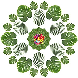60Pcs Tropical Artificial Plant Hibiscus Flowers Simulation Artificial Leaf for Birthday Party Decorations Supplies Party Jungle Beach Theme Table Leave Decorations (A)