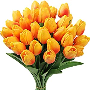 Tifuly 24 Pcs Fake Tulips Artificial Latex Tulips Real Touch Bridal Bouquet for Home Table Party Wedding Decoration(Orange)