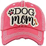 """JUS LABS Embroidered Vintage Distressed """"Dog Mom"""" Hat - Sun Hats for Women - Best Outdoor Apparel - Perfect Ballcap - Hot Pink"""