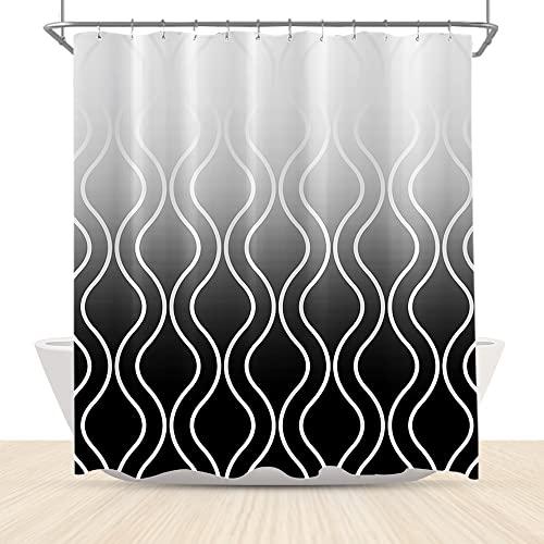 LFEEY Extralanger strukturierter Ombre-Duschvorhang, abstrakte geometrische silbergrau-weiße Farbverlauf, Badezimmer-Gardinen mit Haken, 183 x 183 cm Stoff, wasserdicht