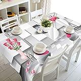 XXDD Mantel de Flores Blancas a Rayas 3D, rectángulo Impermeable de Rosas a Cuadros de Moda para Mantel de Mesa de Cocina A5 150x210cm