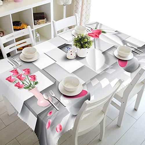 XXDD Mantel de Flores Blancas a Rayas 3D, rectángulo Impermeable de Rosas a Cuadros de Moda para Mantel de Mesa de Cocina A5 140x140cm