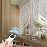 karlleo-curtain Electric Real Wood Blinds Motorized Timber Blinds 50mm Horizontal Slat (Remote Control,Power110-240V) Website Priced at Motorize(1pc,39' W x 39' L) Contact us for Customize Size