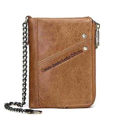 Contatti RFID Mens vera pelle doppia cerniera tasca bifold moneta portafoglio con catena antifurto