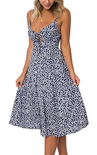 ECOWISH Damen V Ausschnitt A-Linie Kleid Träger Rückenfreies Kleider Sommerkleider Strandkleider Knielang Navy Blau_Blumen L