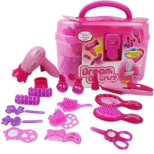 EQLEF® 4 + Girls Pink Simulación peluquería cosméticos belleza maleta juguete Set -17PCS Role-playing