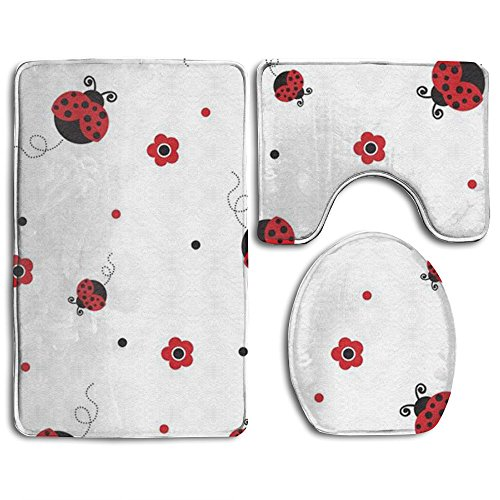 3 Pcs/set Bathroom Non-Slip Ladybug Style Pedestal Rug + Lid Toilet Cover + Bath Mat