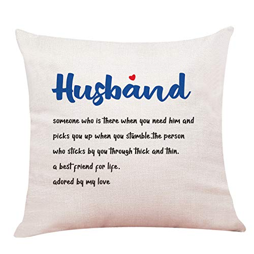 xiao zhang Best Gift for Husband Adored by My Love Cotton Linen Throw Pillow Case Cushion Cover Home Office Decorative Square 18 Inches Without Pillow Insert