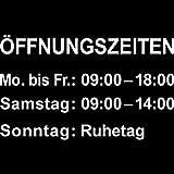 Öffnungszeiten Aufkleber Tattoo Mo bis Fr 09:00 bis 18:00 Sa 09:00 bis 14:00 So Ruhetag (35cm)