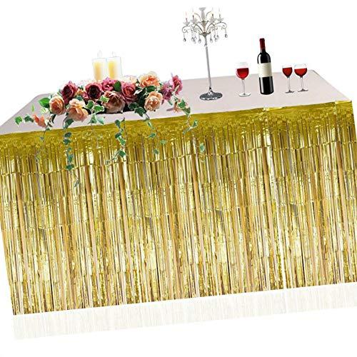 LafyHo Metallic Fringe Foil Table Rock Tinsel Tabelle Vorhang für Luau Party-Geburtstags-Sommer-Jahrestag Weihnachten Tischdekoration