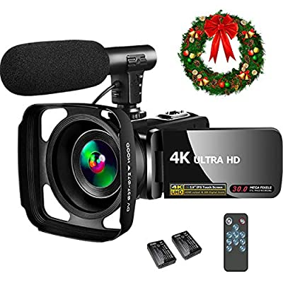 4K Video Camera Camcorder,Video Camcorder 30MP 18X Digital Zoom Touch Screen Webcam Vlogging Camera for YouTube with Microphone, 2 Batteries by SAULEOO
