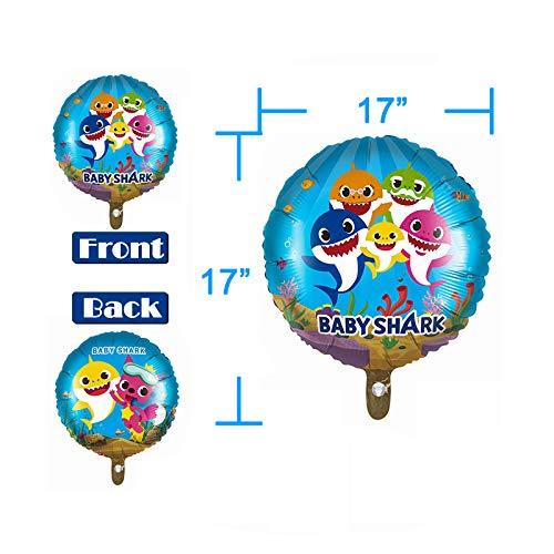 "9 Pcs Baby Shark Party Helium Balloons - 26"" Shark Family Foil Balloons with 4 Pcs 17"" Round Balloons for Shark Theme…"