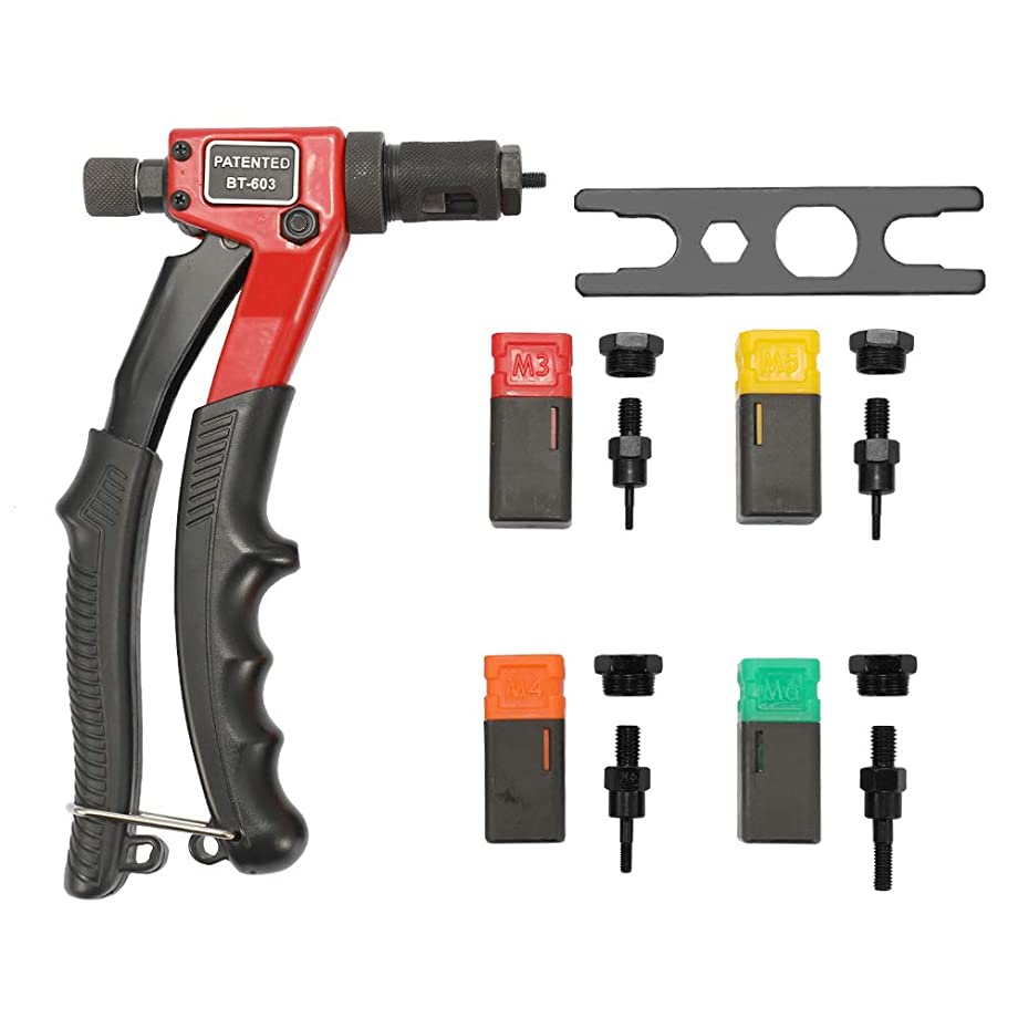 Rivet Gun Kit, KKmoon Labor-saving Hand Riveter BT-603 Manual Rivet Machine 200mm Riveting Tools with Nut Dies M-3 M-4 M-5 M-6