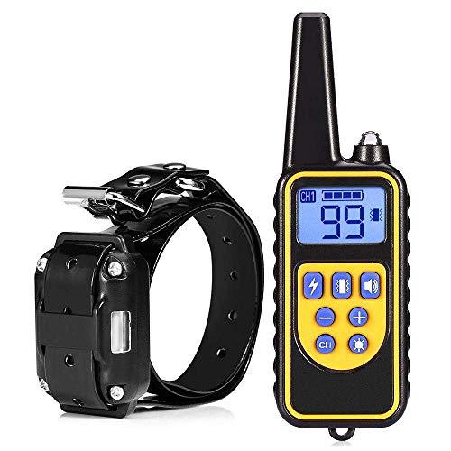 Starter Collier de dressage de chien avec télécommande, écran LCD et rechargeable étanche, chien de 800 m de télécommande électrique Collier de dressage avec chocs,