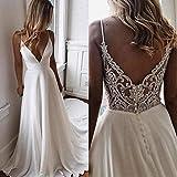 SWEETQT Vestido de Novia Blanco Simple de una línea de Verano Vestido de Fiesta Nupcial con Cuello en V Vestido Largo de Gasa Boho Beach Vestidos de Novia Vestido de Noche