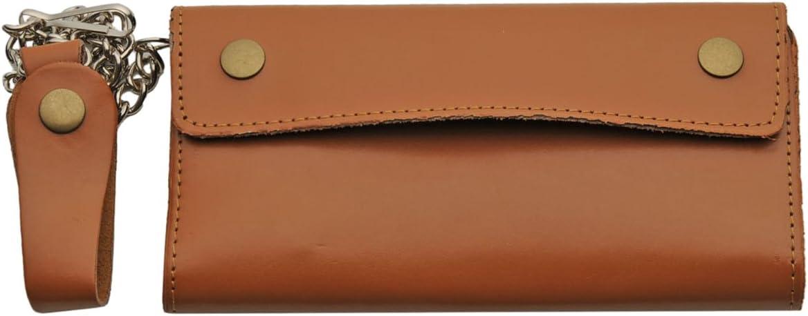 SZCO Supplies Eight Brown Bi-Fold Biker Wallet Leather Wallet