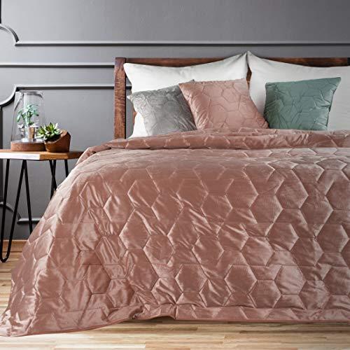 Eurofirany Bettüberwurf Velvet Samt Tagesdecke Honigwaben Gesteppte Decke Überwurf Steppdecke Elegant Edel Glamour Schlafzimmer Wohnzimmer Gästezimmer Lounge, Dunkelrosa, 220x240cm
