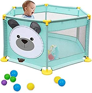 Teppichks Baby playpen Children Safety Fence Cute Panda Pattern Panels Portable Foldable Kids Baby Activity Center Indoor Outdoor Safety Game Play Fence 65cmX142cm  Color Style1