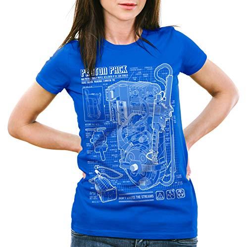 style3 Zaino Protonico Cianografia T-Shirt da Donna Fantasma Proton Pack, Colore:Blu, Dimensione:2XL