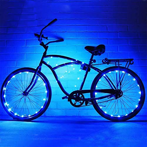 OURISE 2 Pack LED Bike Wheel Lights, Bicycle Wheel Lights Front and Rear, Waterproof Bicycle Spoke Lights, Cycling Decoration Tire Strip Light for Kids Adults Night Riding (Blue)