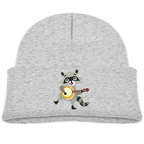 Cute Raccoon Playing Banjo Toddler Infant Skull Cap Beanies Cap Cozy Cotton Warm Hat 0-3T Gray