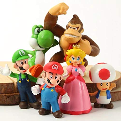 6 Pcs Super Mario Brothers Figures Set Children's Toy-Cake Topper Decoration Supplies