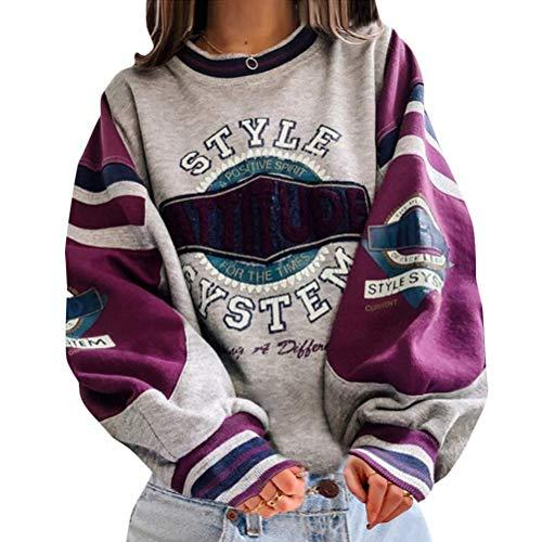 Shownicer Sweatshirts Damen Lange Ärmel Pullover Winter Rundhals Vintage Streetwear Oversized Bunter Cartoons Mädchen Sportbekleidung Top 01 Grau XL