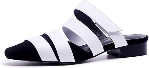 JIANXIN Baotou Rome Chaussures Chaussures Tongs en Cuir Sandales Pantoufles en Plein Air Femme Demi Pantoufle Usure Extérieure été (Couleur   Blanc, Taille   EU 36 US 5.5 UK 3.5 JP 23cm)  mode