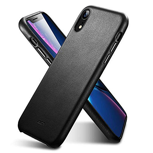 ESR Premium Real Leather Case for The iPhone XR, Slim Protective Cover [Supports Wireless Charging] for The Apple iPhone XR (2018) - Black