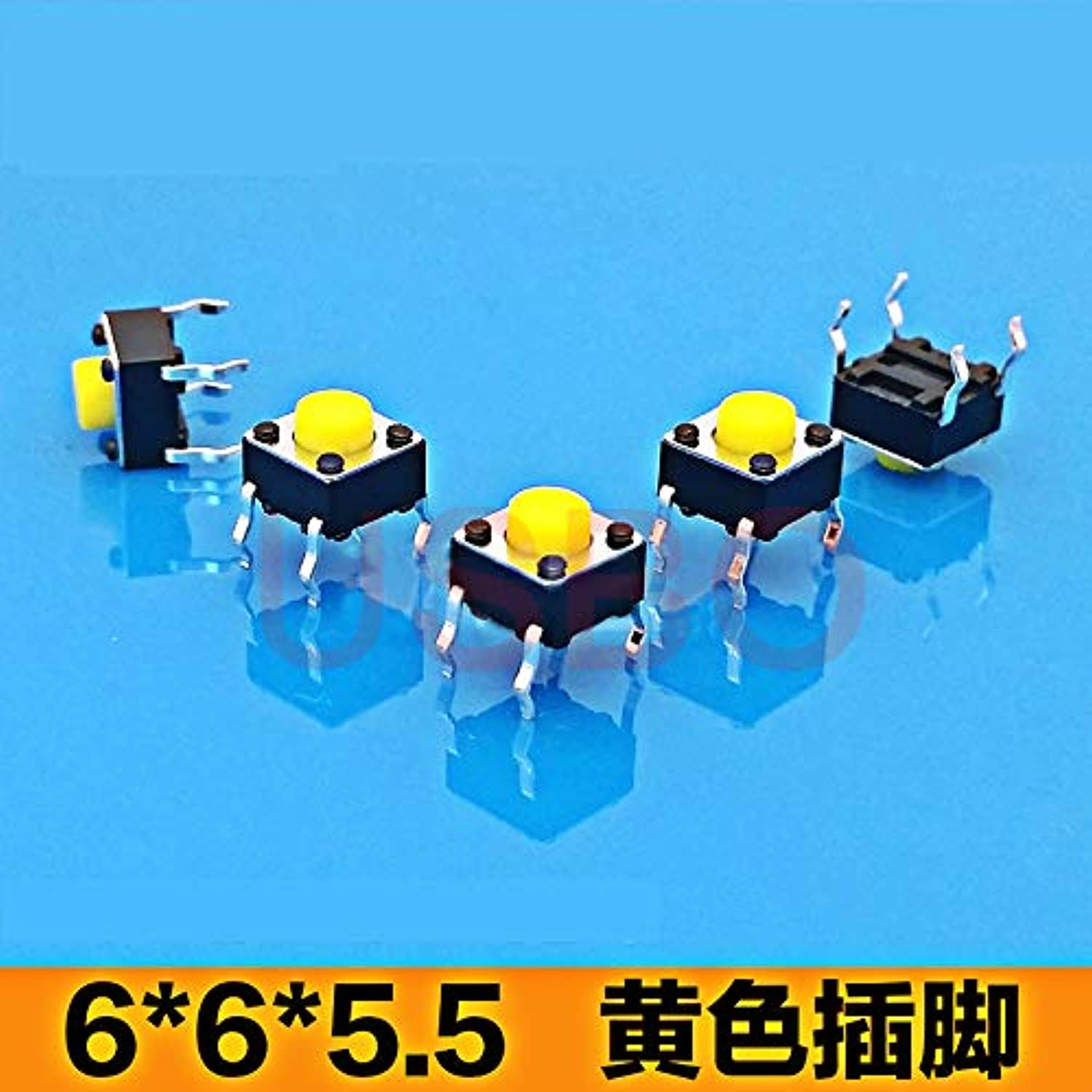 Wholesale Tactile Push Button Switch Tact Touch Switch for Toy 6  6  5.5mm 4 Legs  (color  Yellow)