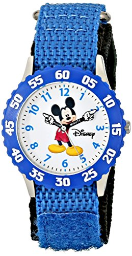Disney Kids' W000228 'Mickey Mouse Time Teacher' Stainless Steel Watch with Blue Nylon Band