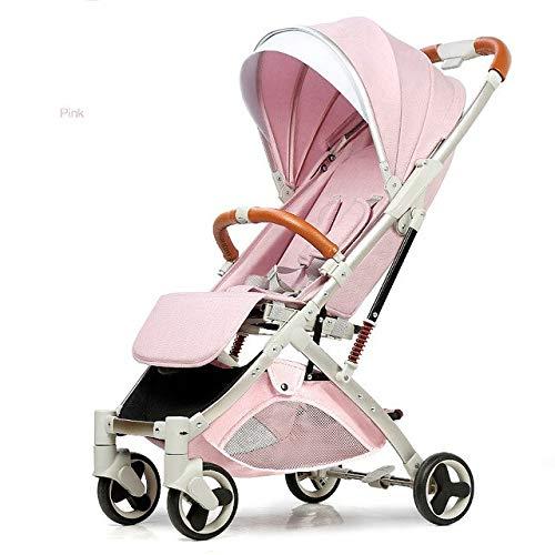 known 5,8 kg leichter Kinderwagen Goldrahmen Auto tragbarer Kutschenschirm Baby Kinderwagen Neugeborene Reise Kinderwagen Geschenk im Flugzeug Rosa