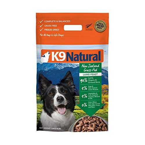 Freeze Dried Dog Food Or Topper By K9 Natural - Perfect Grain Free, Healthy, Hypoallergenic Limited Ingredients Booster For All Dog Types - Raw, Freeze Dried Mixer - Lamb 4Lb Pack
