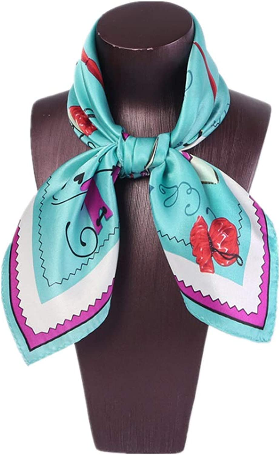 Square Scarf Women's Print Pink Soft Comfortable Scarf Silk Shawl (color   blueee)
