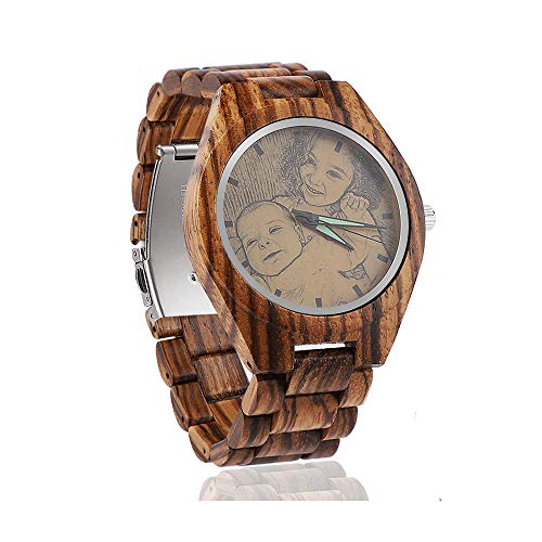 uarzo di legno personalizzato orologio da uomo, moda da polso fatti a mano di Natale Foto Orologi