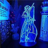 Lámpara De Ilusión 3D Luz De Noche Led Acrílico Anime Sword Art Online Khirito Decoración De Dormitorio Lámpara De Mesa De Regalo De Cumpleaños Colorida Para Niños